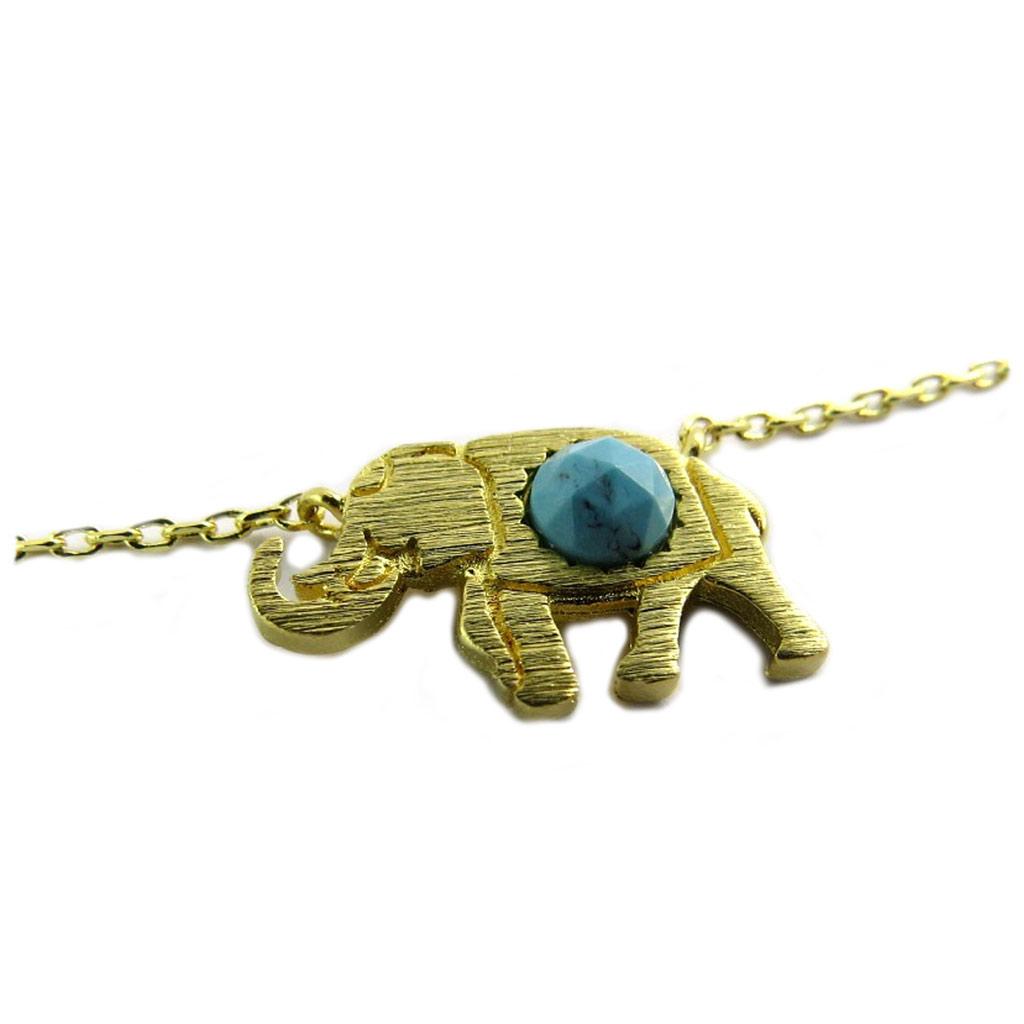 "Promo -35%, 7bis  - Collier artisanal ""Elephant Indien"" turq"
